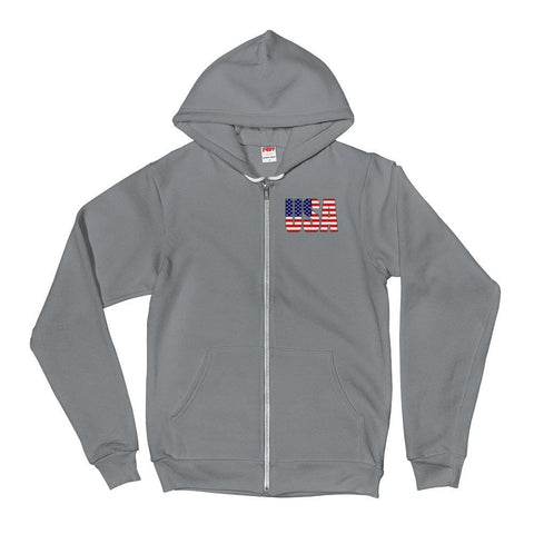 Image of USA *MADE IN THE USA* Zip-up Hoodie - Asphalt / XS