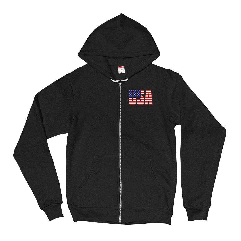 USA *MADE IN THE USA* Zip-up Hoodie - Black / XS