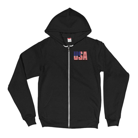 Image of USA *MADE IN THE USA* Zip-up Hoodie - Black / XS