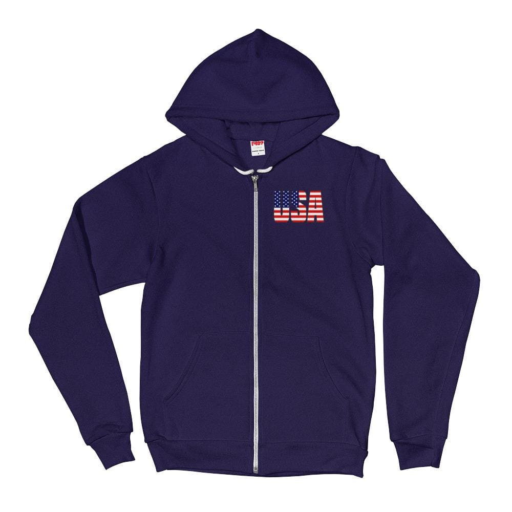 USA *MADE IN THE USA* Zip-up Hoodie - Navy / XS