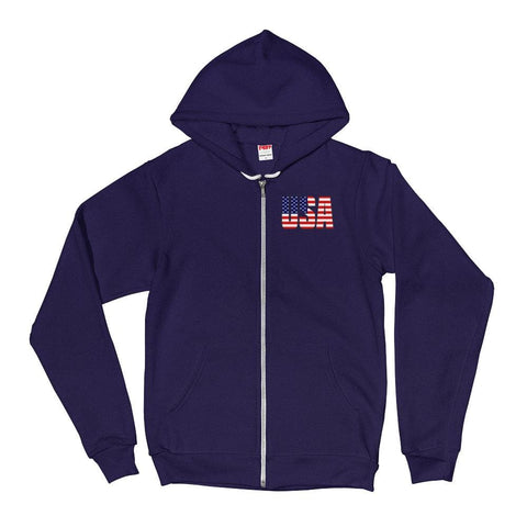 Image of USA *MADE IN THE USA* Zip-up Hoodie - Navy / XS