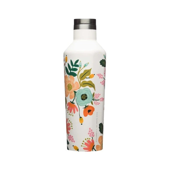 Corkcicle Canteen Bouteille Isolée Gloss Cream Lively Floral Sur Fond Blanc