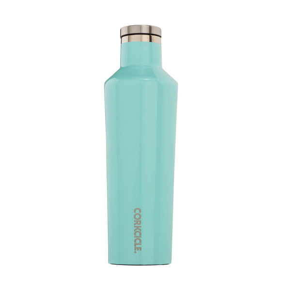 Corkcicle Canteen Bouteille Isolée Gloss Turquoise sur Fond Blanc