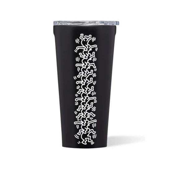 Corkcicle Tumbler Tasse Isolée Keith Haring People Stack Sur Fond Blanc
