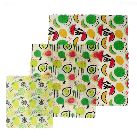Danesco Beeswax Food Wrap Feuilles En Cire D'abeille Motifs Fruits