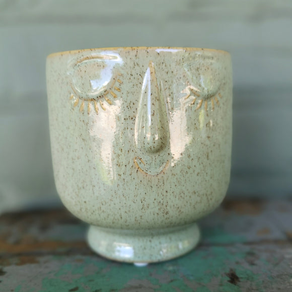 Indaba Cache-pot Friendly Face Pot Moss Petit