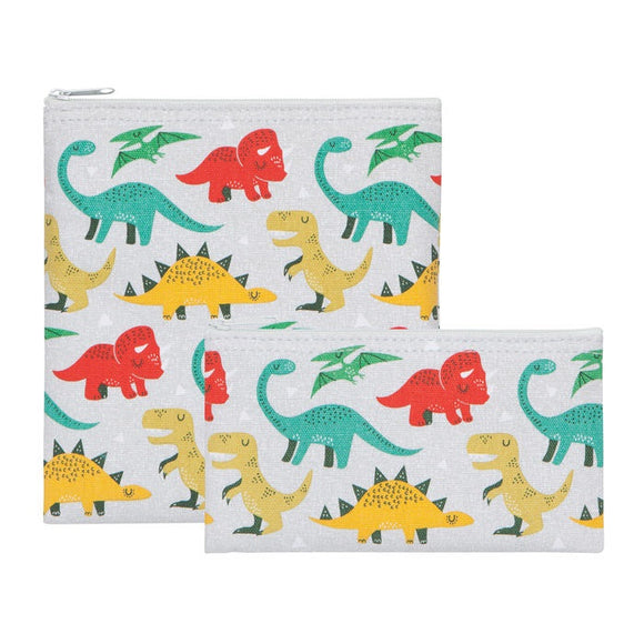 Now Design Duo Pochettes Collation Dinosaures Sur Fond Blanc