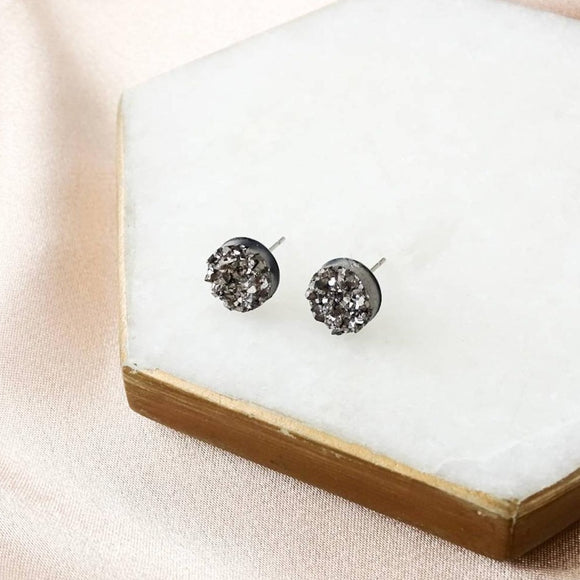 Vintage Glory 22 Ember Resin Druzy Studs Charcoal
