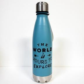 "Bouteille isolée ""The wold is yours to explore"""