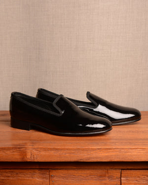 "Crockett & Jones Slipper - Black Patent ""Bow in box"""