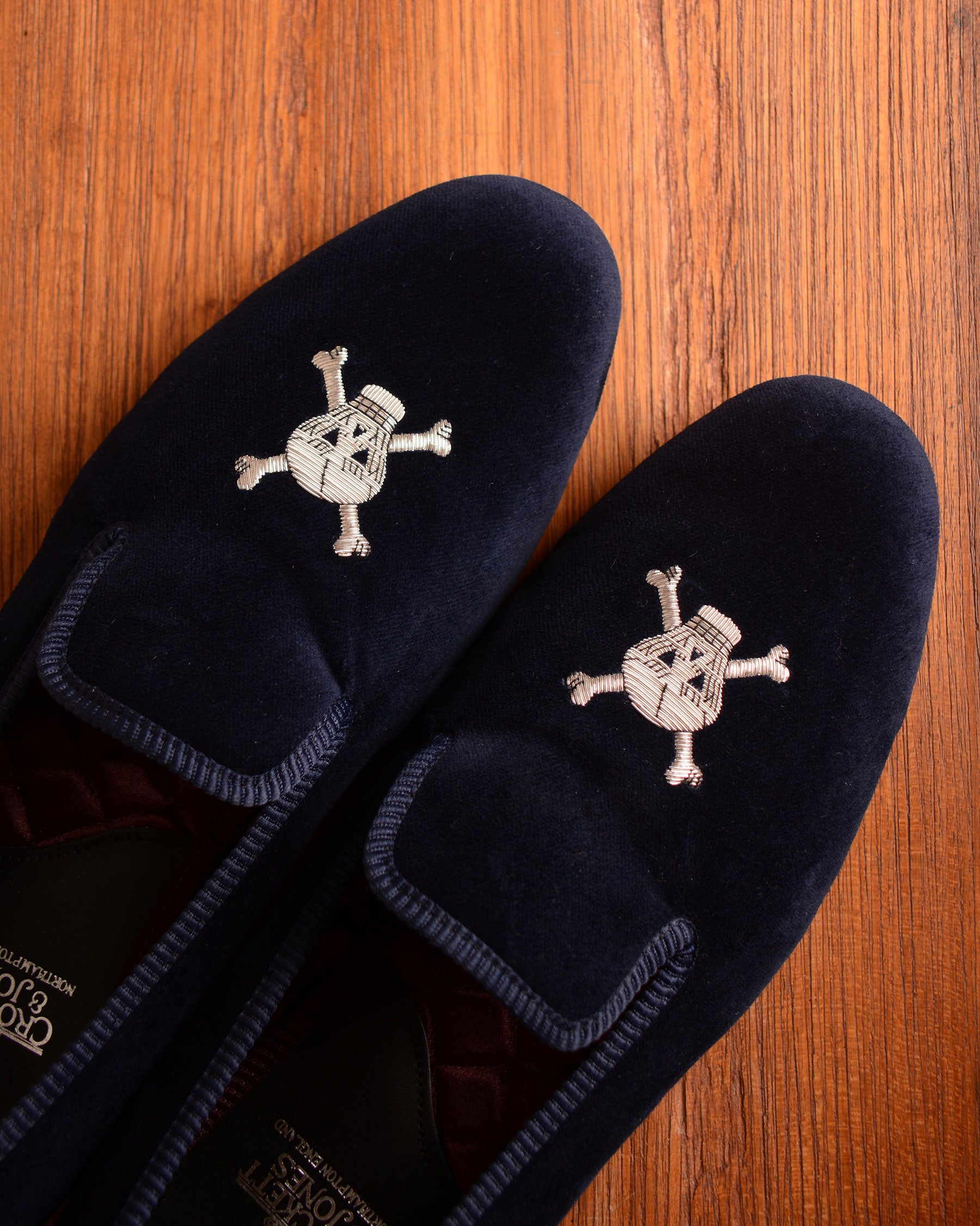 Crockett & Jones Slipper - Navy Skull