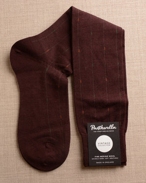 Pantherella Socks - Wool Ghost Stripe Burgundy