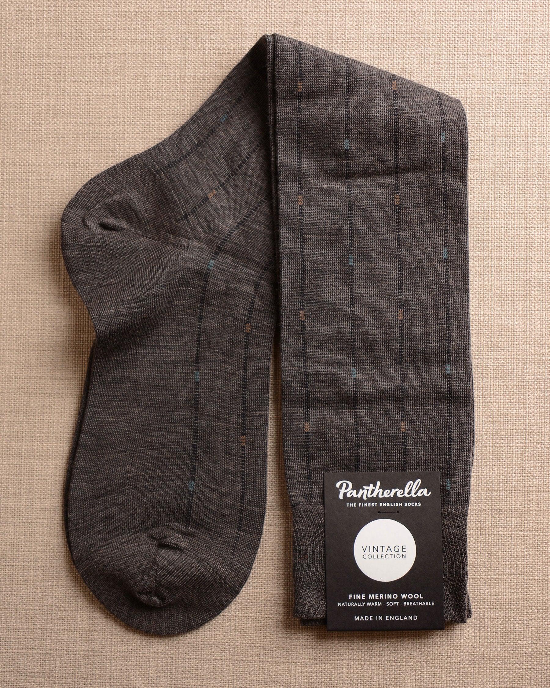 Pantherella Socks - Wool Ghost Stripe Grey