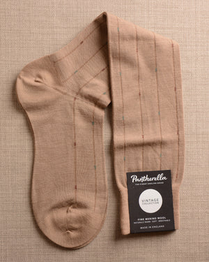 Pantherella Socks - Wool Ghost Stripe Sand