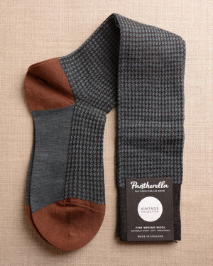 Pantherella Socks - Wool Houndstooth Blue