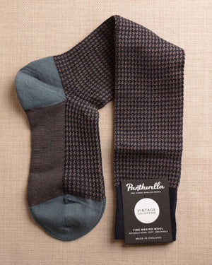 Pantherella Socks - Wool Houndstooth Navy