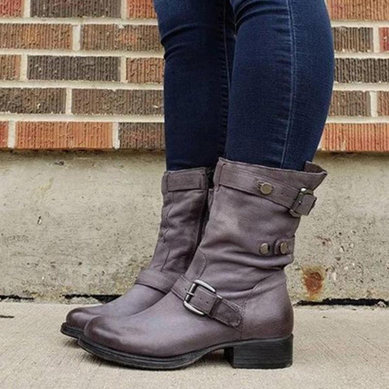 Solid Casual Round Toe Low Heel Zipper Comfy Boots