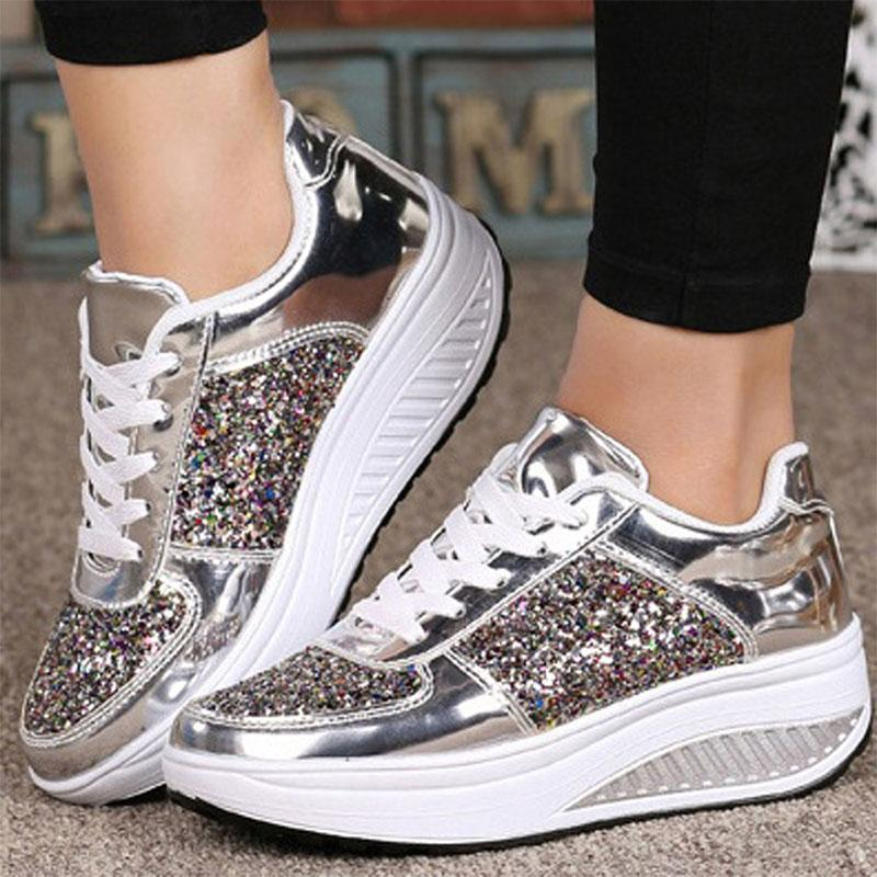 Casual Glitter Thick Sole Wedge Sneakers