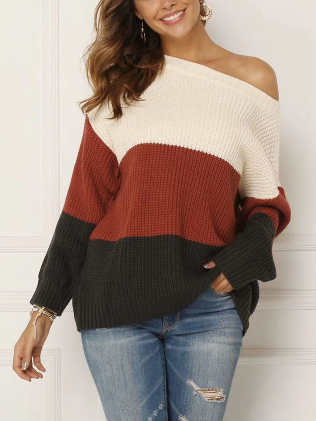 Tricolor Stitching Wide Cardigan