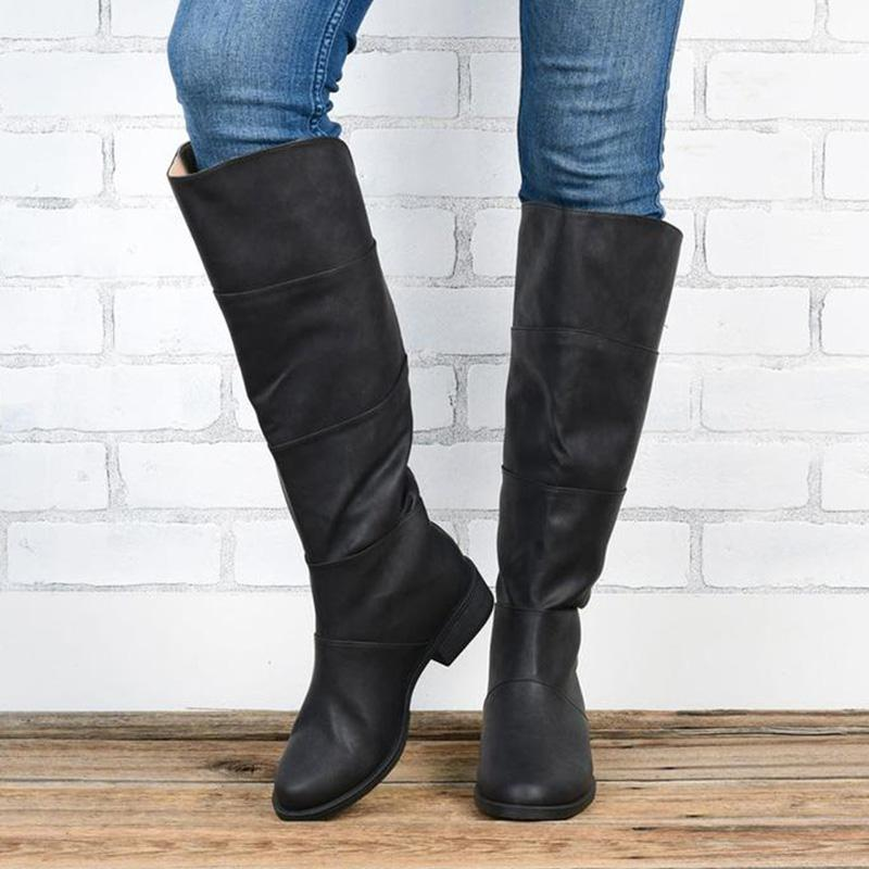 Casual Comfy Sole Layered Zipper Boot
