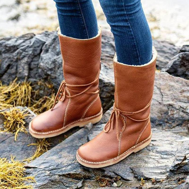 Women's Winter Casual Slip-on Mid-calf Boots