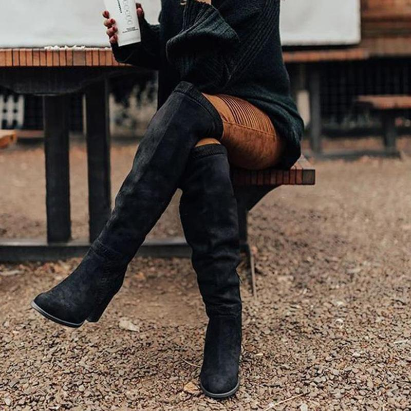 Casual Side Zipper Knee-High Vintage Boots