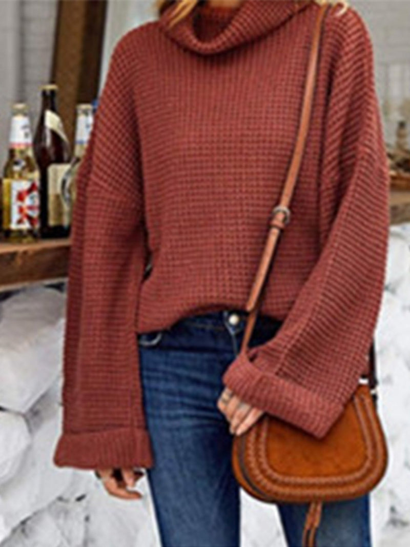 Loose Solid Turtleneck Sweater