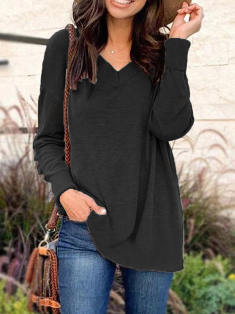 Plus Size V Neck Casual Solid Knit T-Shirt