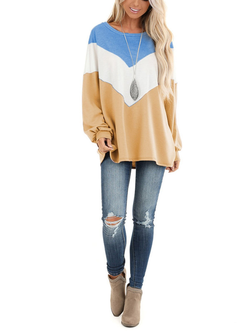 Color Collision Geometric Round Neck Loose T-Shirt