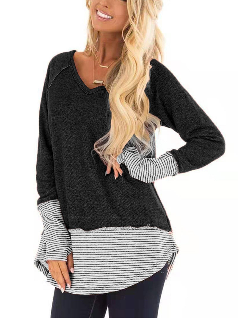 Stripe Cuff Stripe Hem V Neck Long-Sleeved T-Shirt