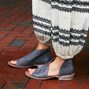 Casual Flat Shoes Solid Open Toe Leather Sandals