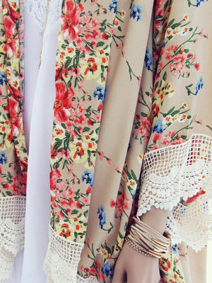 Round Neck Floral Loose Cardigan