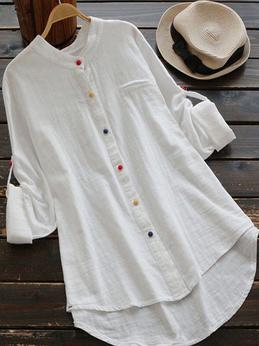 Solid Stand Collar Long Sleeve Loose Buttons Shirt