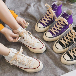 Casual Women Shoes Lace-up Thicker Heel High-top Atheletic Sneakers