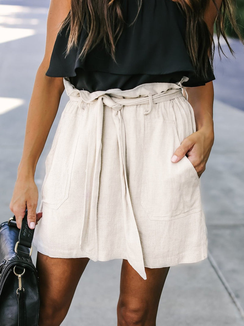 Cute Solid Belted Pockets Mini Skirt
