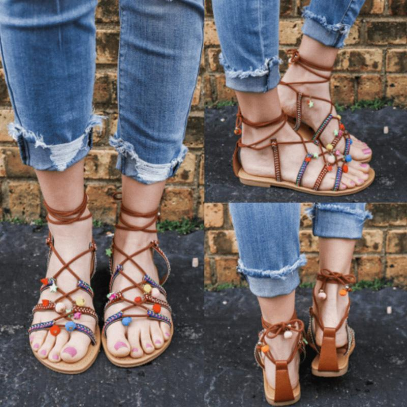 Lace-up Peep Toe Flat PU Sandals
