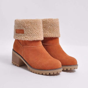 Fashion Large Size Winter Warm Chuncky Heel Snow Boots For women