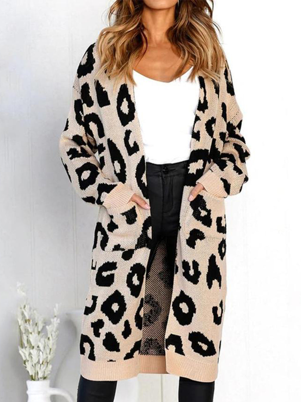 Women's Long Sleeves Leopard Print Knitting Cardigan Coats with Pocket
