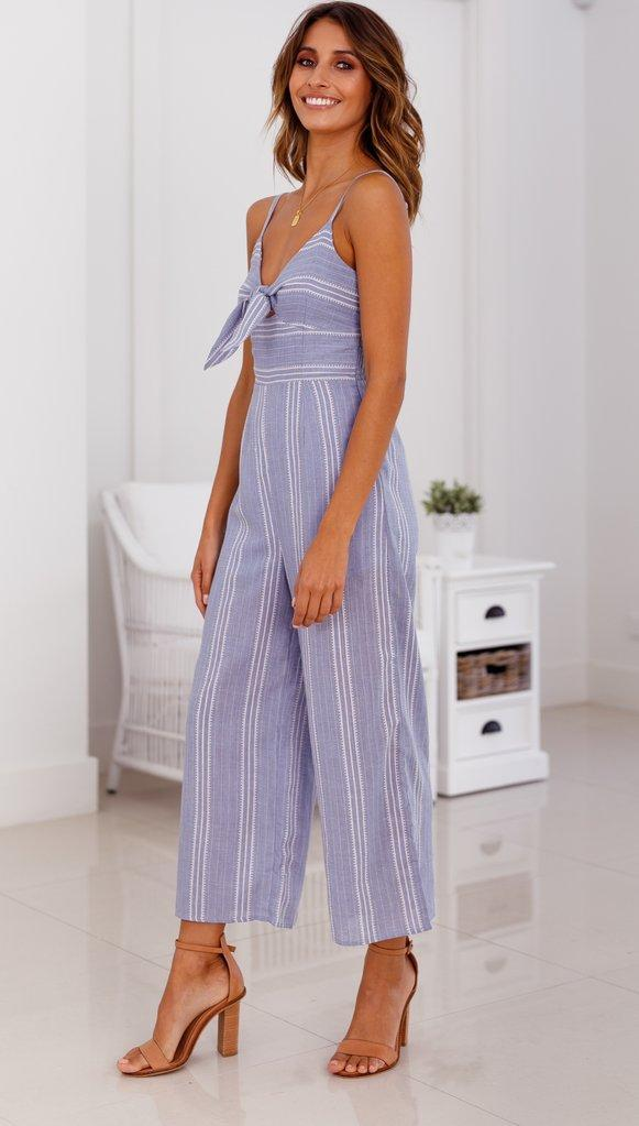 Blue Striped Bowknot Tie Strap Sexy Jumpsuit