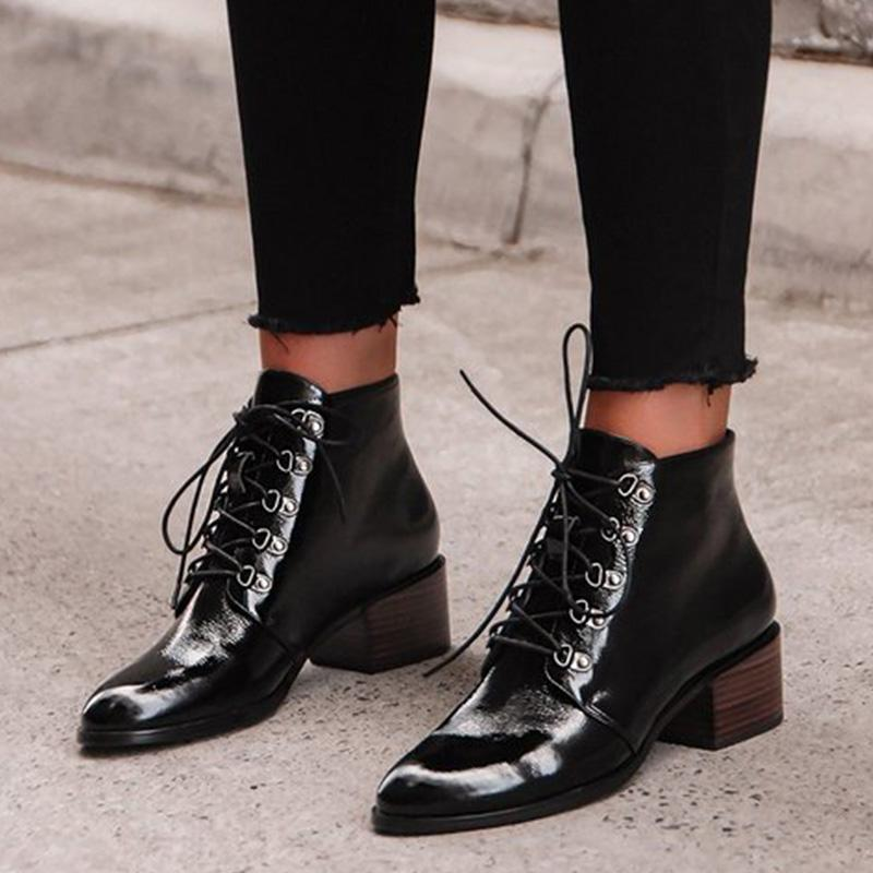 Chic Pointed Toe Chunky Heel Ankle Boots