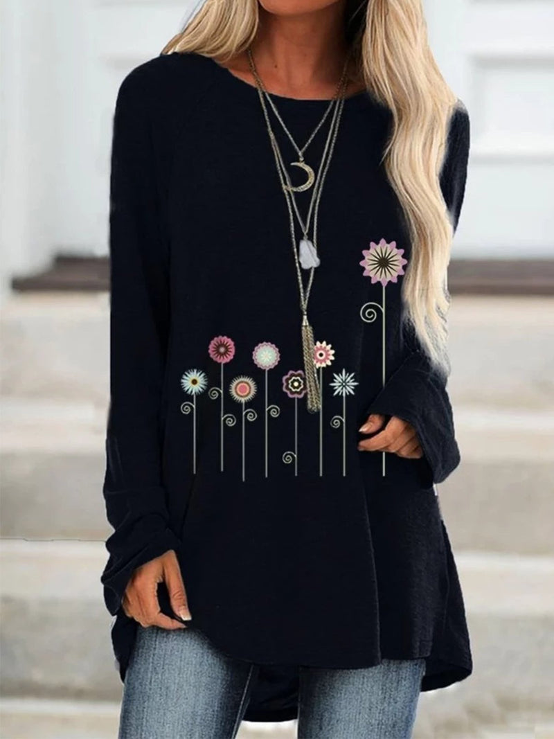 Plus Size Flower Print Round Neck Raglan Sleeve Loose T-Shirt