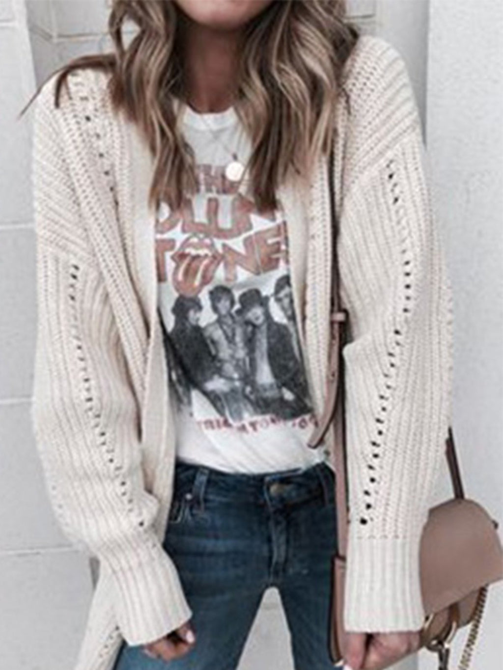 Off-White Hollow Loose Sweater Cardigan With Large Size
