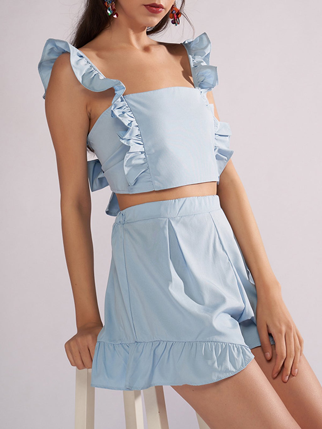 Solid Square Neck Sleeveless Ruffle Crop&Mini Skirt Two Piece Set