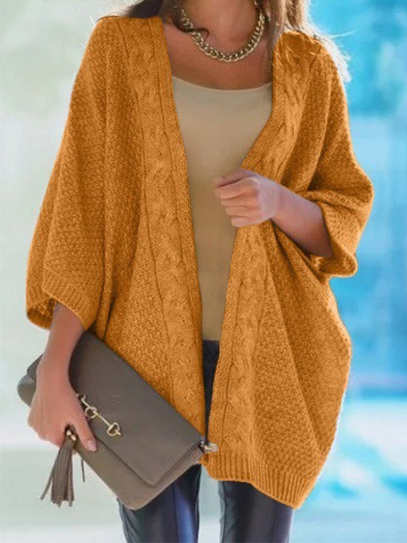Plus Size Solid 3/4 Sleeve Batwing Sleeve Sweater Cardigan