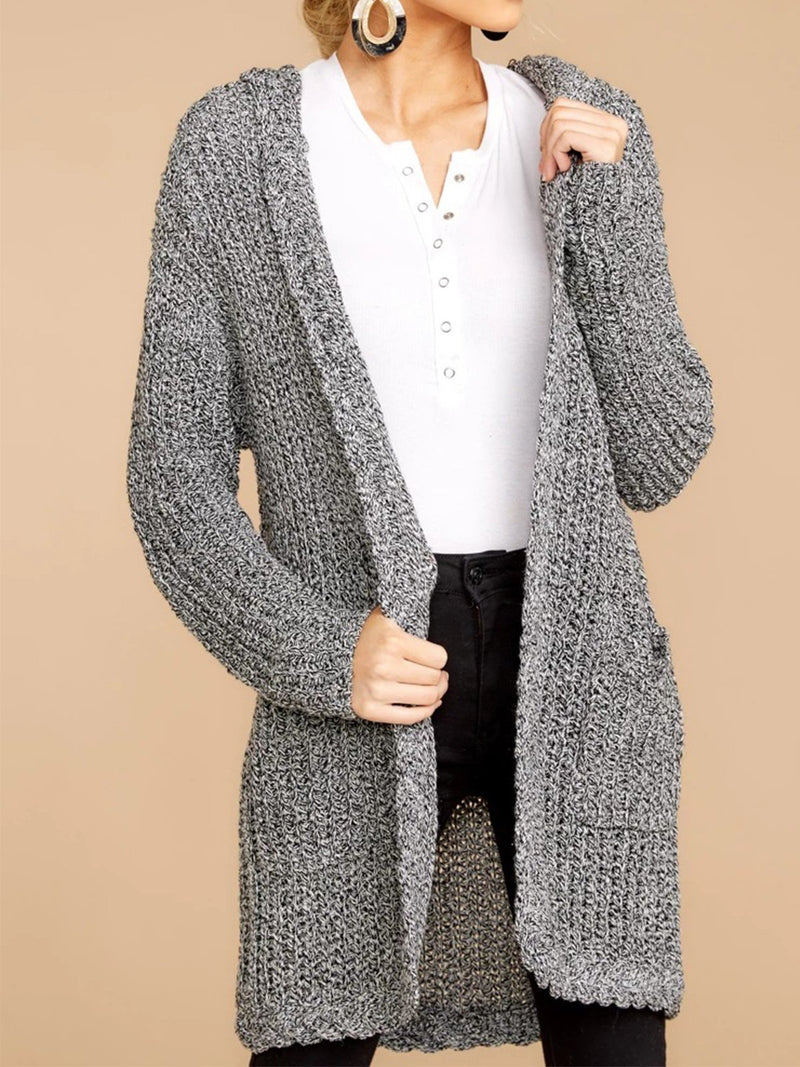 Plus Size Solid Gray Hooded Long Sweater Cardigan