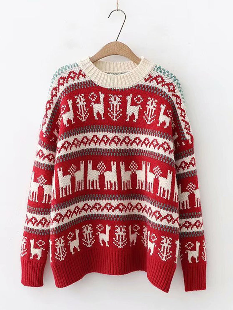 Round Neck Fawn Pattern Knitted Pullover