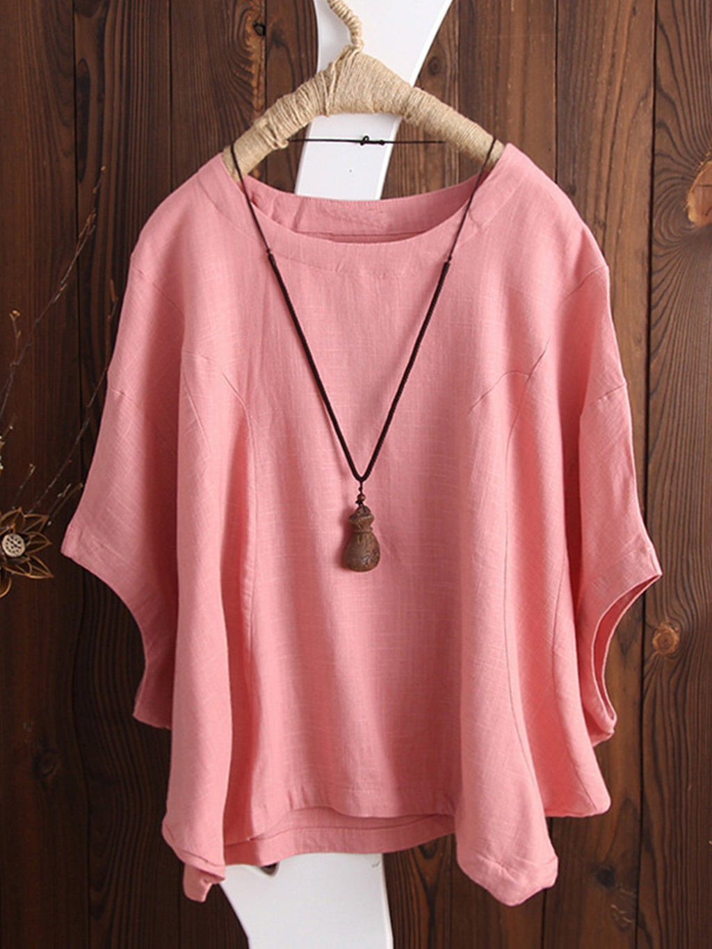 Women Casual Cotton Plus Size Drop Shoulder T-shirt