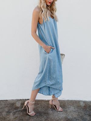 Lightblue V Neck Sleeveless Spaghetti Jumpsuits Dress
