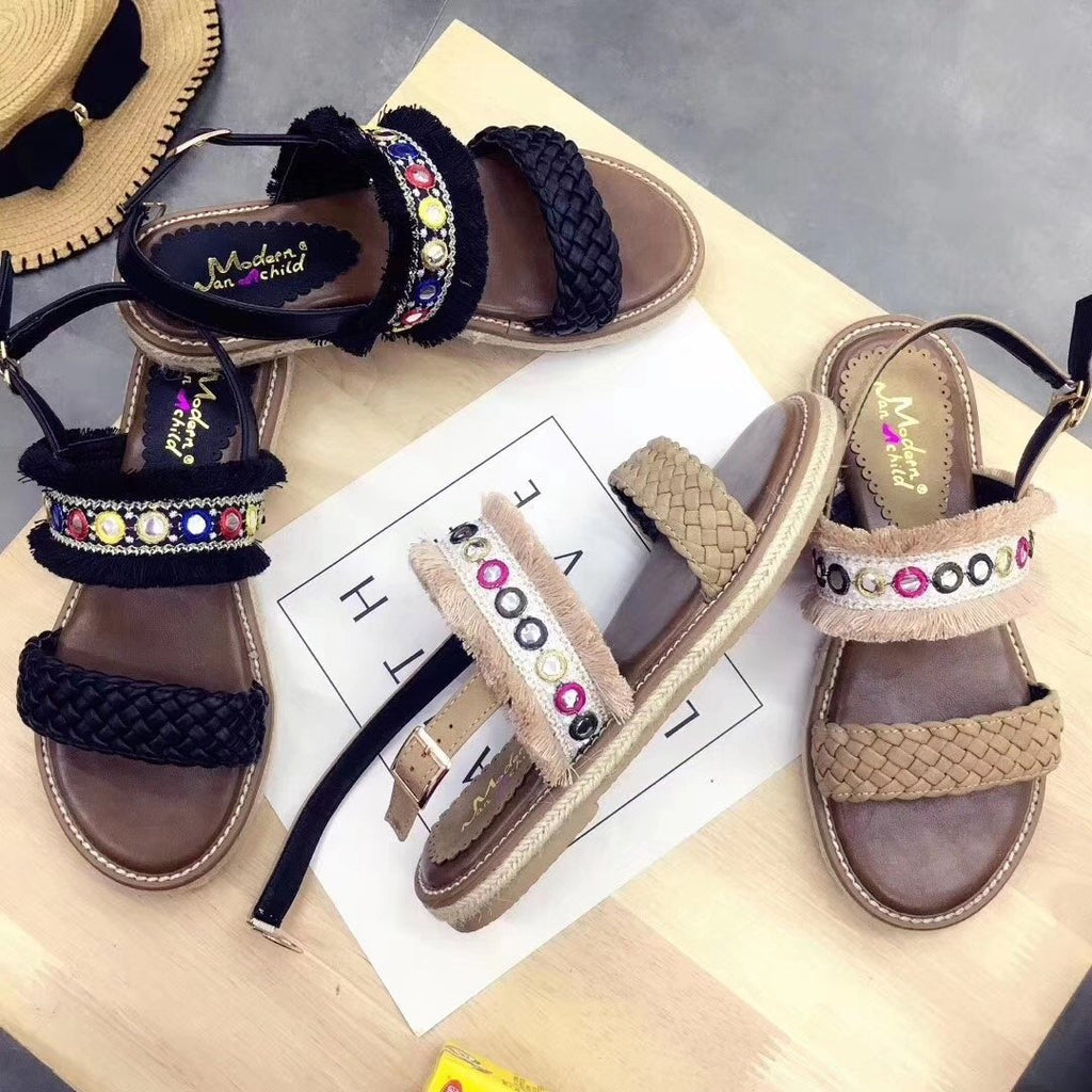 Women's Round Toe Adjustable Buckle Flat Sandals