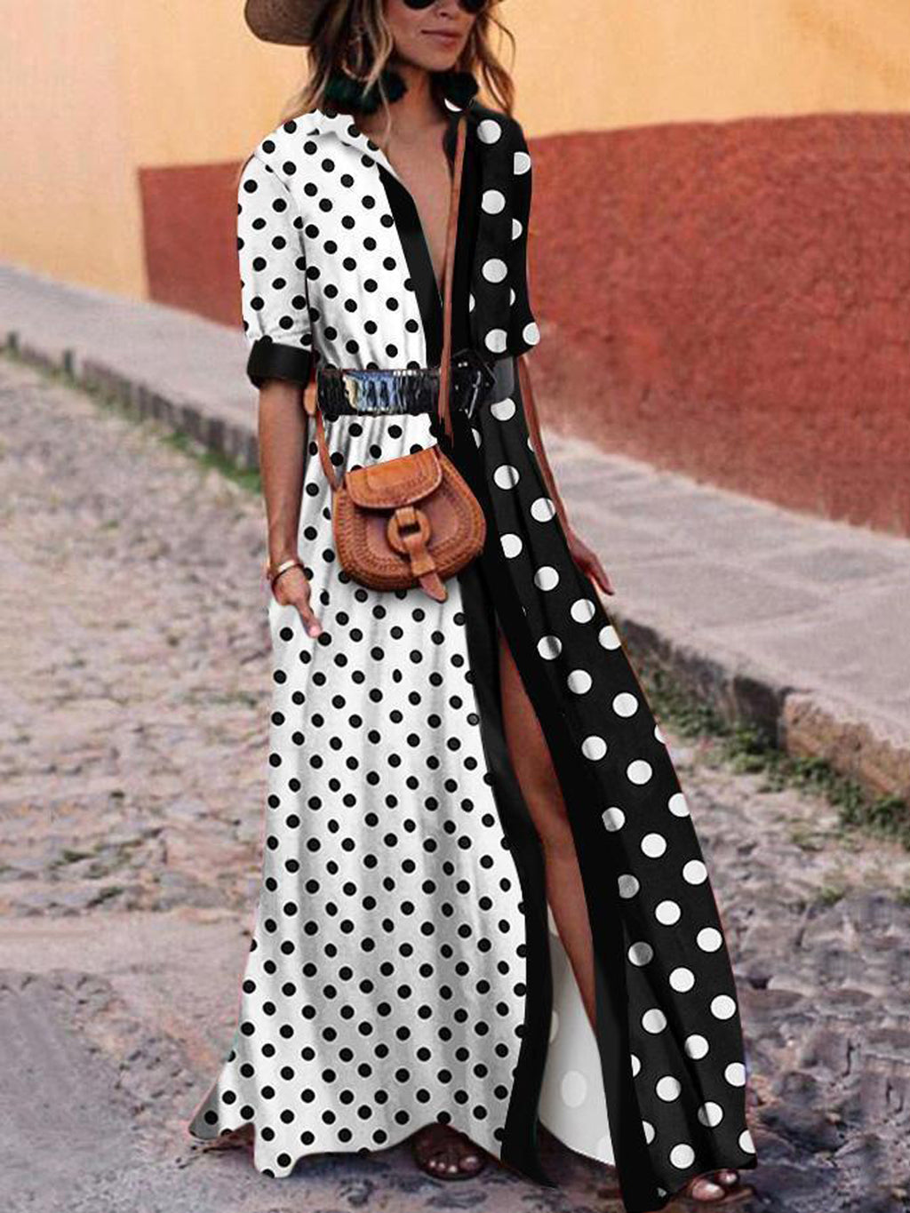 Sexy Polka Dot Block Slip Front Swing Maxi Dress